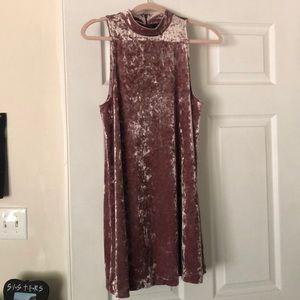 Velvet Pink Shift Dress